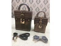LADIES HANDBAGS x 2 ONE IS A HANDBAG AND SMALL CAN BE USED AS A SATCHEL OR A CLUTCH BAG.