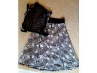 NOMADS L 14 16 Fairtrade long skirt & waistcoat flowery fairtrade organic browns Paulton Stapleton