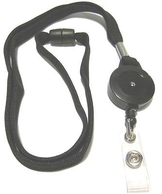 1 X Black Combo Lanyard Reel Retractable Key Id Badge Holder With Breakaway