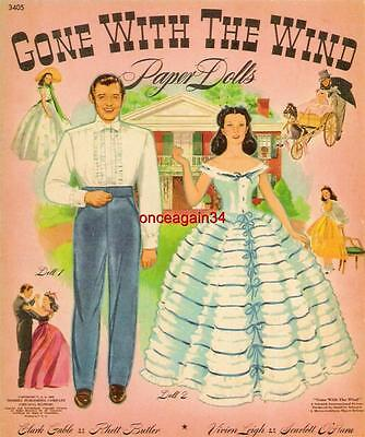 VINTAGE UNCUT 1940 GONE WITH THE WIND PAPER DOLLS~#1 REPRODUCTION~FABULOUS/RARE!