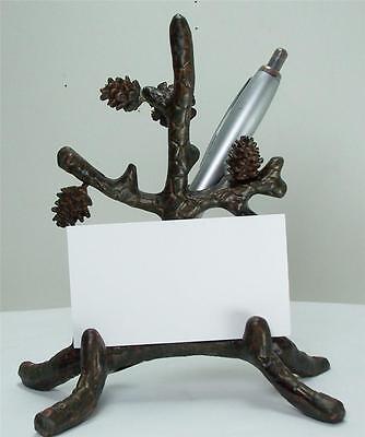 6 Tall Brown Desktop Aluminum Pine Branch Pinecone Business Card Pen Holder