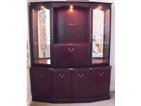 """MORRIS"" Display Cabinet, Corner TV Cabinet, Stereo Cabinet in dark solid wood"