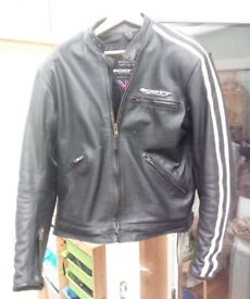 "Leather motorcycle jacket, Scott Leathers ""Retro"";. Full body armour. Size 42 inch chest."