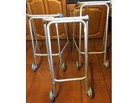MOBILITY WALKING FRAME ON WHEELS LIGHT WEIGHT ALUMINIUM ADJUSTABLE £6. EACH