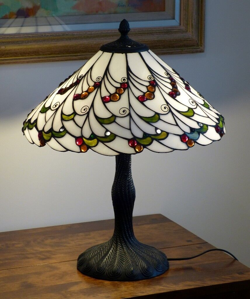 Beautiful tiffany style table lamp 42cm diameter 52cm tall with 2 beautiful tiffany style table lamp 42cm diameter 52cm tall with 2 golf ball aloadofball Choice Image