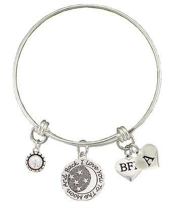 Custom BFF Best Friend Love You To The Moon Silver Bracelet Choose Initial