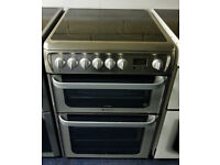 Steel Hotpoint 60cm Ceramic Cooker - 12 Months Warranty - £200
