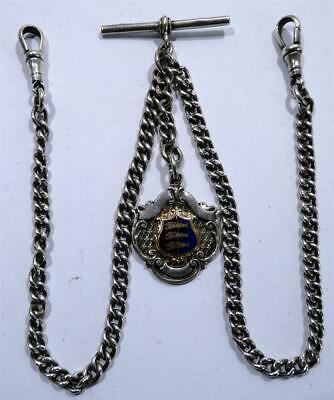 Antique Hallmarked SOLID SILVER Double Albert Pocket Watch Chain + Silver Fob
