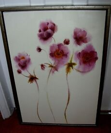 """WOODEN FRAMED PICTURES OF FLOWERS 32"""" H X 22"""" W GOOD QUALITY PICTURES SILVER FRAMES"""