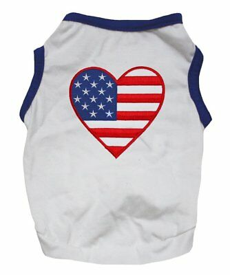 July Dog T-shirt - 4th July American Heart USA Flag White Blue T-Shirt Tee Puppy Clothes Dog Dress
