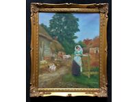 Wonderful Original Signed Vintage Oil Painting - Pretty Milkmaid in A Farmyard