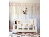 Mamas and Papas cot bed in white. Sleigh bed style