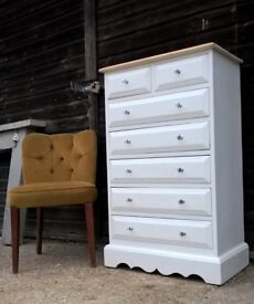 Vintage White Solid Pine Tallboy Chest of Drawers *FREE DELIVERY* Bedroom Dresser