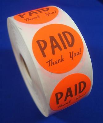 1000 Self-adhesive Paid Thank You Labels 1 38 Stickers Retail Store Supplies