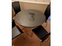Granite-top dining table & 4 leather effect chairs - Excellent condition