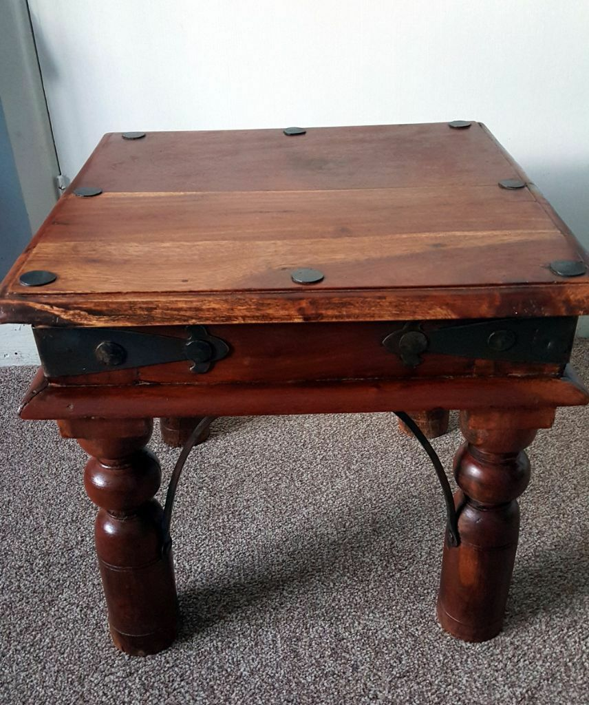 Indian Sheesham Wood Small Square Coffee Table Lamp Side Table In Petersfield Hampshire