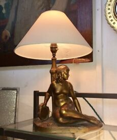 Art Nouveau Spelter table lamp of nude lady naked woman