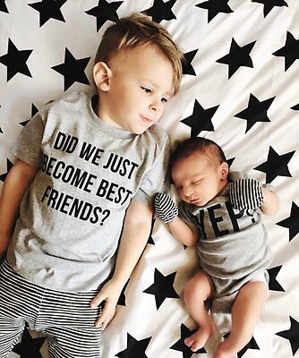 Big Brother T-shirt Little Brother Romper Matching Baby Kid Boy Short Sleeve Top - Baby T-shirt Romper