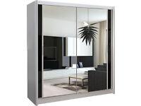 2 Sliding Door Wardrobe White + Mirror CAN DELIVER