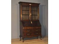 Attractive Large Vintage Oak Glazed Door Presentation Bureau Bookcase Cabinet