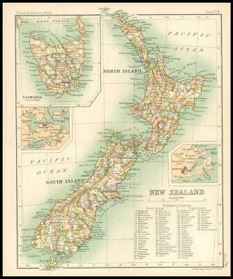 c1912 Map of NEW ZEALAND Chart Regions Australia (BS80)