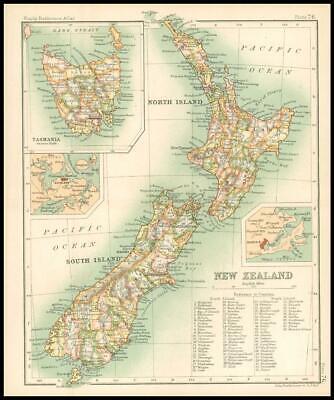 c1912 Map of NEW ZEALAND Chart Regions Australia (BS80)
