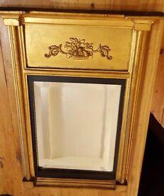 antique hall mirrror, gold ornate frame