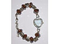 'Mum' Bracelet Quartz Watch with Designer Silver & Amber Beaded Handmade Strap