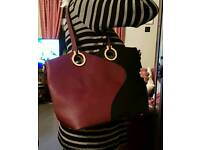 New with tags Superbia Italy large handbag in black/plum