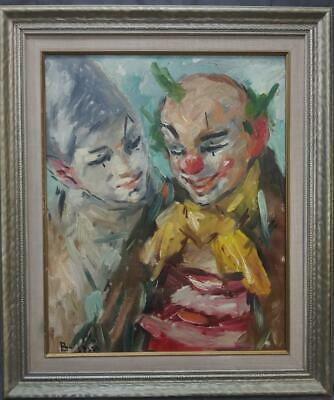 Vintage Oil Painting Clown Portrait Painting Clowns Belenci Mid Century Modern