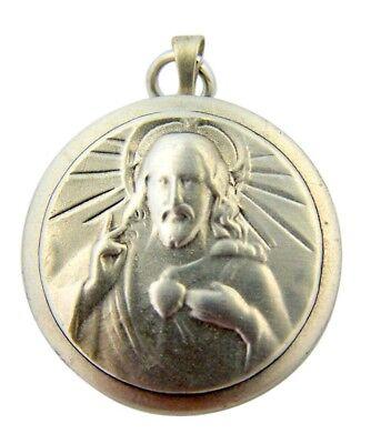 Sacred Heart of Jesus 7/8 Inch Sterling Silver Scapular Medal Locket Pendant
