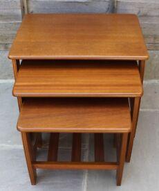 Teak retro modern nest of tables.