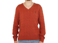 Polo Ralph Lauren Mens Jumper Cable Silk Rust PD11