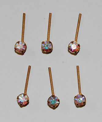VINTAGE CRYSTAL AB RHINESTONE 6 BRASS BAR PENDANT PIN FINDING HAIR JEWEL for sale  Shipping to India