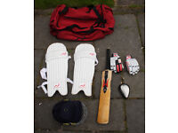 Woodworm Junior/Youth cricket bag and kit (bat, pads, helmet and gloves)