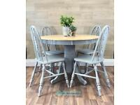 Farmhouse Round Kitchen Dining Table Set with 4 chairs GREY shabby chic