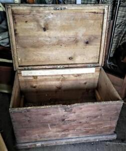"OAKVILLE Very Old RUSTIC Solid Wood TRUNK Chest Box Retro Vintage Antique Heavy 32x21x19"" high"