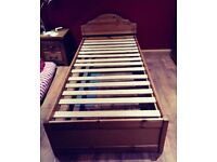 Single Divan Bed with Wooden Frame & underbed storage - 2 colour sides on storage