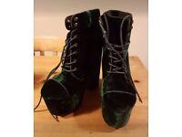 Deep green velvet heels, size 7