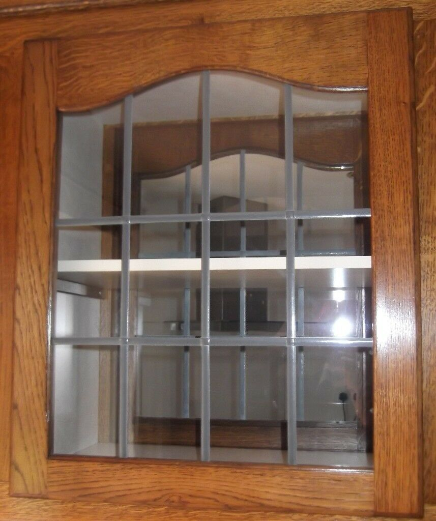 DARK OAK / LEADED GLASS BESPOKE CABINET DOORS