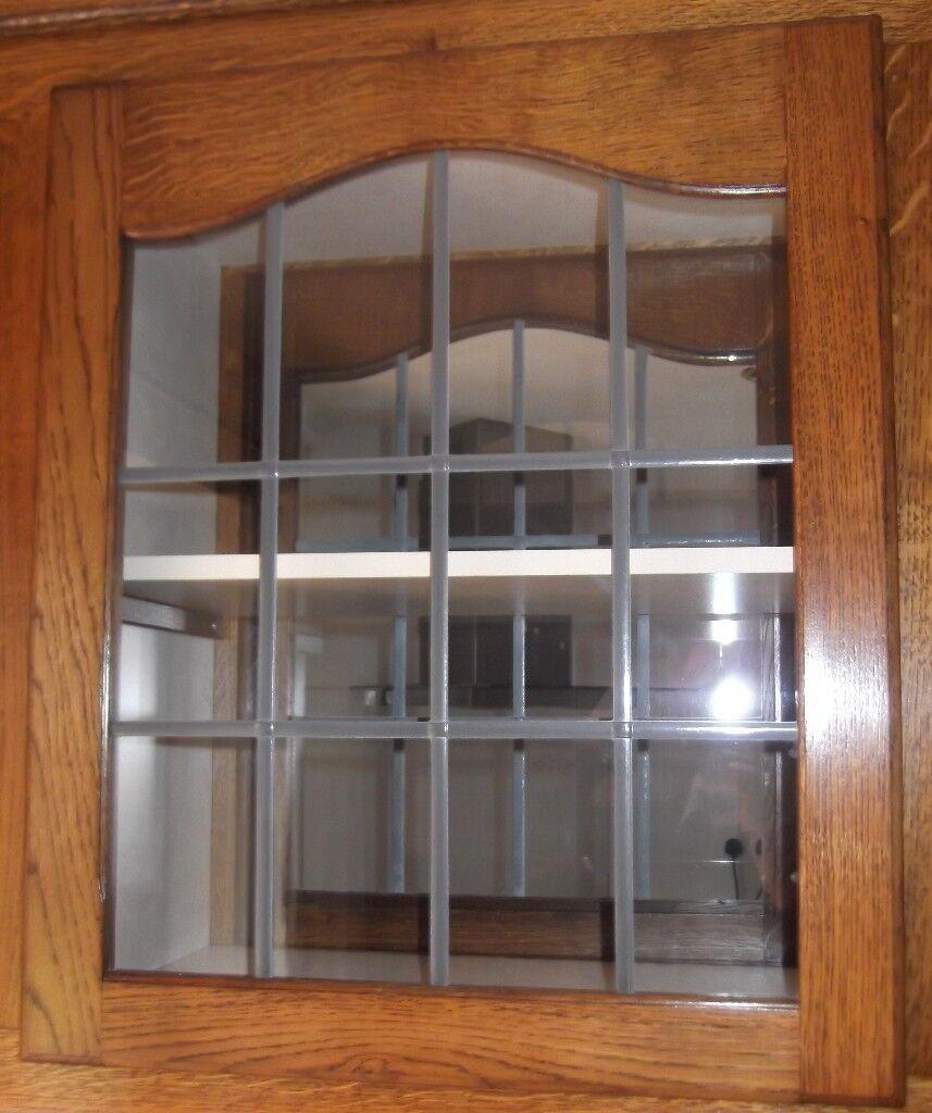 Dark Oak Kitchen Doors: DARK OAK / LEADED GLASS BESPOKE CABINET DOORS