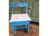 Hand painted child's wooden chair with fox design seat pad and decoupage