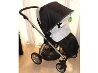 mamas and papas SOLA pram pushchair,black with footmuff and raincover ,