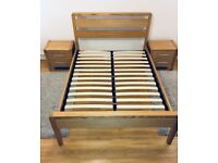 Ash Wooden Bedroom Set - Double Bed, Matching Bedside Tables and Two Matching Rugs