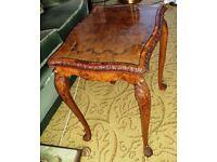 High Quality Burr Walnut Antique Coffee Table.