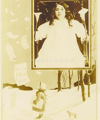 RPPC: HAPPY NEW YEAR 1905 w Adolescent GIRL in LARGE CHAIR holding CALLA LILIES ()