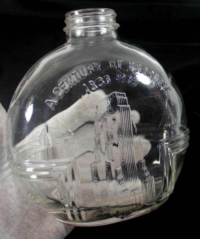 """Vintage 1833-1933 """"A Century of Progress"""" World's Fair Owen Illinois Bottle"""