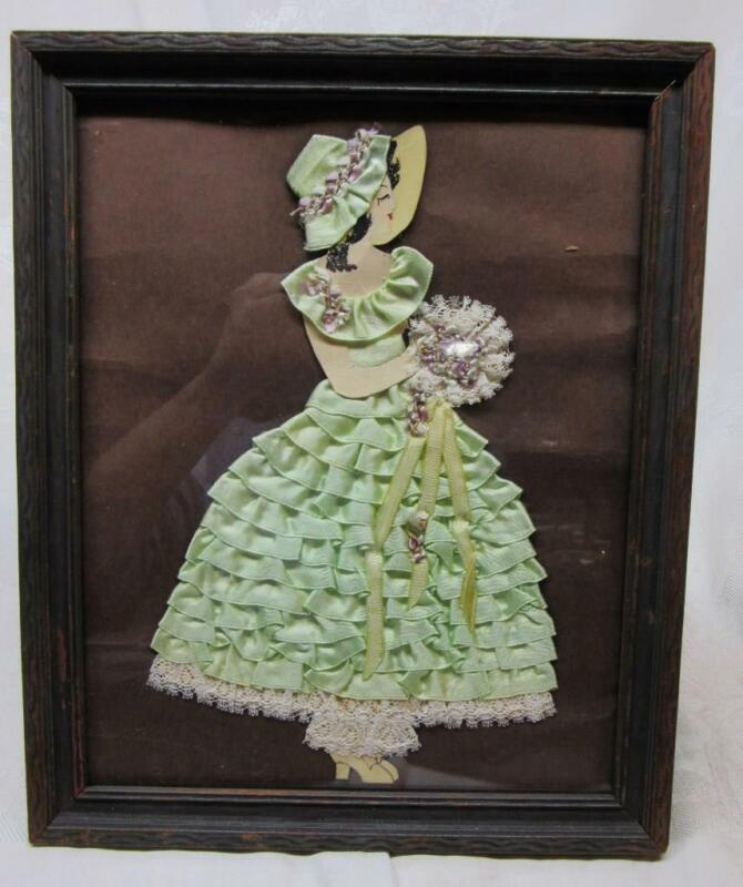 Vintage Victorian MINT GREEN RIBBON LADY ,Paper Doll Framed PICTURE  w BOUQUET