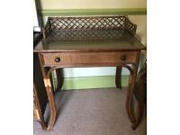 Pretty cane glass topped desk/ dressing table with drawer