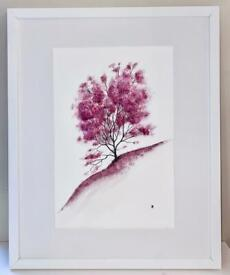Original Painting, Japanese Cherry Blossom, Abstract Watercolour and Ink, Large Portrait Wall Art